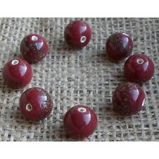 20 HANDMADE INDIAN LAMPWORK GLASS BEADS ~ 10mm Maroon Speckled ~ 58