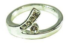 Elegantes señoras Elegante Plata curva de tono Anillo diamante/gemstone Diseño (Zx1)