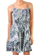 Summer Dress-Strappy Ruffle Purple Green Grey White Animal Print Button Front-12