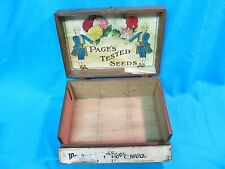 ANTIQUE GENERAL STORE PAGE'S FLOWER SEED ADVERTISING WOOD BOX GREENE NY