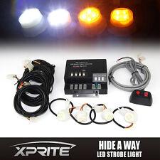 120W 4 LED White & Amber Bulbs Hide-A-Way Emergency Warning Strobe Lights