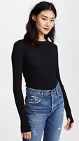 ENZA COSTA Long Sleeve Cuffed Crew Cashmere-blend Sweater Top Black XS $174