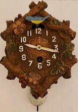 "1934 Lux Keebler ""Six Logs #206"" Animated Bluebird Cuckoo Pendulette Wall Clock"