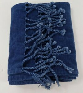"""Pottery Barn Knotted Table Runner 22x 108"""" Indigo Blue #9999X"""