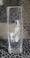 """Crystal Clear Glass Cube Paperweight 3-D Laser Etched Fairy Dragonfly Flowers 6"""""""