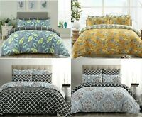 100% Cotton Duvet Cover Set Double Super King Size Printed Reversible Bedding