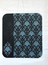 Black and Blue Damask Print Mouse Pad High Quality Office Desk Decor