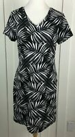 Old Navy Sheath Dress Women's Large Short Sleeve V-Neck Stretch Black Floral