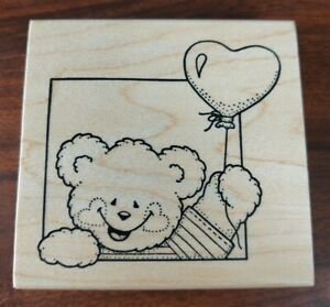 Darcie's ~ R-3545 Teddy Bear Opening Heart Balloon Rubber Stamp ~ I1