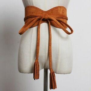 Women Faux Suede Tassels Belt Bow Tie Retro Corset Waistband Obi Retro Retro