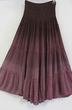 Sacred Threads 100 % Rayon Purple Tiered   Long Skirt  NWT 215608