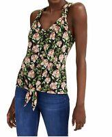 INC Womens Tank Top Black Size Large L Tie-hem V-Neck Floral-Print $49 127
