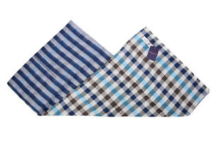 Seaward & Stearn NWT Cotton / Linen Scarf In Teal, Blue, White and Brown Plaid