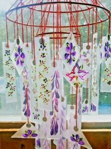 FROSTED Japanese Glass Windchime  LARGE Vintage style VIOLET ORCHIDS WISTERIA