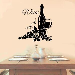 Wine With Grapes Vinyl Wall Decal Sticker Kitchen Decor Vineyard Cute Decoration