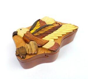 Flying Eagle Wood Puzzle Box Handmade Keepsake Jewelry Trinket Decorative Box