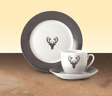 Edles Porzellan Kaffeeservice 18-tlg Hirsch Grau rund Porzellan Marken-Porzellan