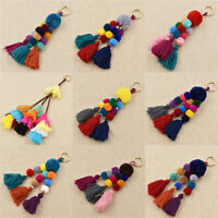 Tassel PomPom Charm Keychain Colorful Wood Beads Hair Ball Bag Pendant Handmade