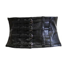 Zac's Alter Ego® 15cm Black Leather Effect Corset Waist Belt with 4 Buckles
