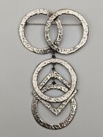 """Vintage Silver Tone Large Geometric Circle and Square Drop Dangle  Brooch 3.75"""""""