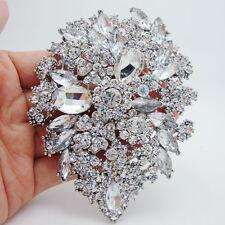 Bridal Fashion Clear Crystal Rhinestone Dual Drop Flower Art Nouveau Brooch Pin