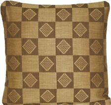 "Checks Cushion Cover Woven Fabric Mustard Squares Marvic Textile 16"" Square"