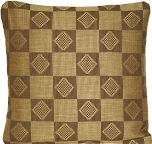 "Mustard Cushion Cover Woven Squares Fabric Marvic Textile 16"" Scatter Square"