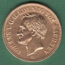 20 Mark 1873 E  Johann König von Sachsen Jäger 259 Gold Original