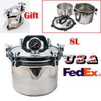 *USA* 8L Portable Steam Autoclave Sterilizer Dental Medical Stainless+Free Gift