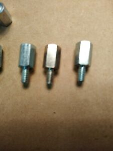 """SPACER 1/4"""" HEX 3/8"""" LONG 6-32 THREAD MALE/FEMALE BRIGHT PLATED STEEL LOT OF 100"""