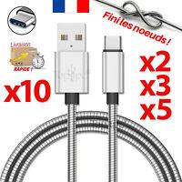CABLE USB TYPE-C CHARGEUR POUR SAMSUNG GALAXY S8 S9 PLUS NOTE 8 METAL ARGENT