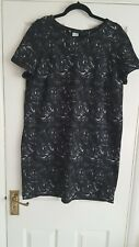 Ex Chain Store Black Grey Floral Print Tunic Shift Dress Size 18 New