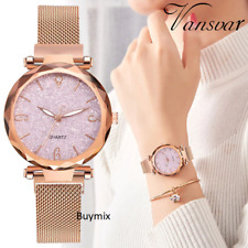 Magnetic Clip Adjustable Mesh Strap Glitter Sparkling Women's Wrist Watch Rose