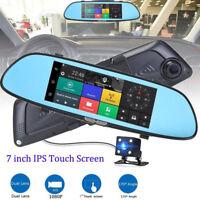 HD 1080P Dual Lens 7'' Vehicle Rearview Mirror Camera Recorder Car DVR Dash Cam