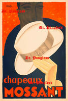 Vintage Victorian Advertising Poster Print Mossant Chapeaux Hats Beautiful!