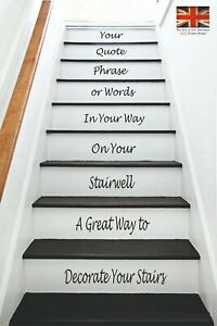 Design your own Stair Stickers  - Your Words, Quote - up to 13 x lines of text!