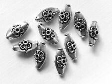 10 Silver plated fancy oval handcrafted beads 17 x 8mm (ref 194)