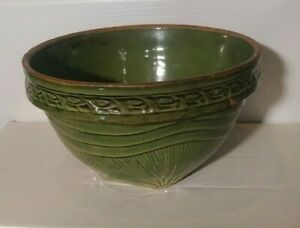 VINTAGE 1920-1930's McCoy Green Pottery Mixing Bowl - Great Condition