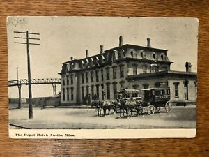 The Depot Hotel, Austin Minnesota 1914 Photo Post card