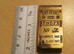 "Vintage Money Clip LAS VEGAS 100 ""FnV7X"" No7 7th Race 7 July 1977 Win Rare"