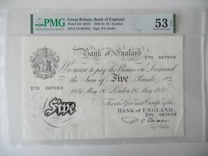 Beale White £5, '26th may 1951', 'U75 067052 ' AU 53 EPQ' about uncirculated