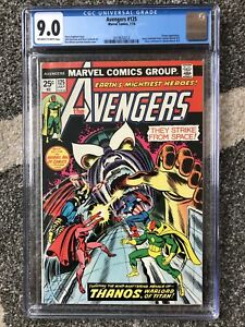Avengers #125 CGC 9.0 OW/W Pages Thanos Captain Marvel 🔥 Key Issue 🔑 1974 MCU!