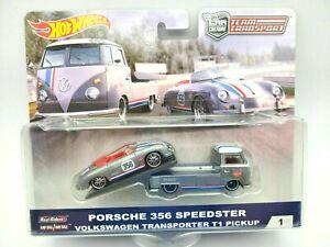 1/64 Hot Wheels Team Transport VW T1 Transporter and Porsche 356 Speedster