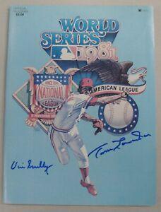 Vin Scully Tommy Lasorda Dual Hand Signed Auto 1981 World Series Program JSA COA