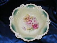Vintage Porcelain Bowl Floral Boquet Fan Edge RS Prussia Handpainted