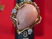 14k GOLD ANGEL SKIN CORAL RING size 7 diamond 14kt 14 k pear vintage shape pink
