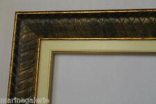 Cadre pour peinture bois contemporain 39cm vide sculpté reflets bleu or patine