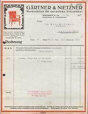 DRESDEN 5, Rechnung 1927, Werkstätten für vornehme Sitzmöbel Gärtner & Nietzner