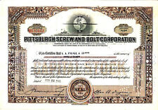 Pittsburgh Screw and Bolt Corporation PA 1940 Stock Certificate