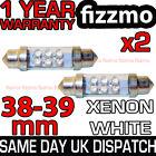 2x 38Mm 39Mm Interior Matrícula Luz Bombilla Festoon 6 Led Xenon Blanco 239 272